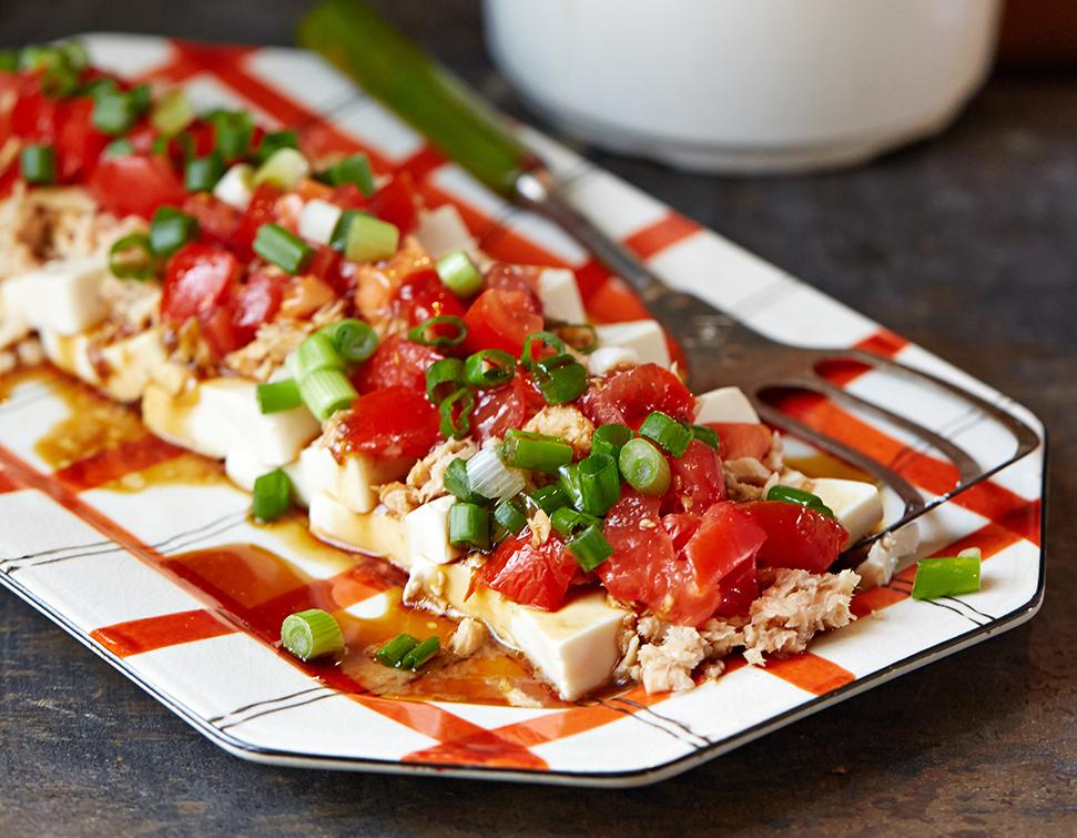 Tofu & salmon salad