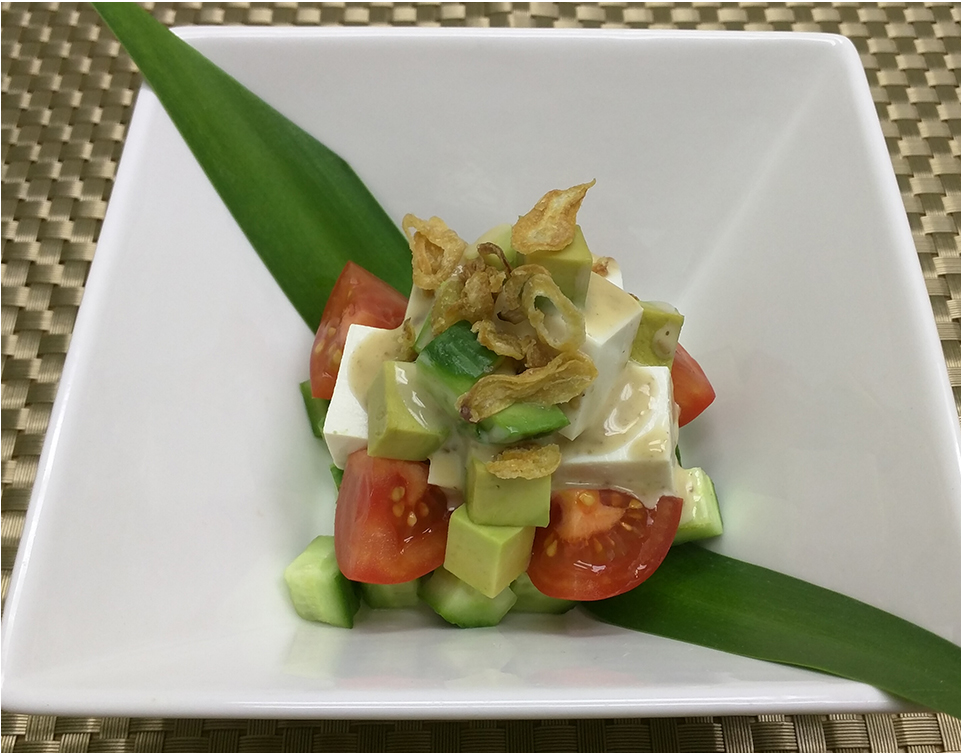 Tofu cubed (chop) salad